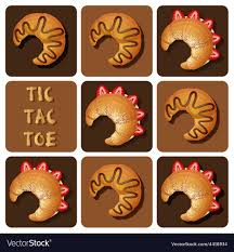 Tic Tac Toe Of Strawberry And Chocolate Croissant Vector Image