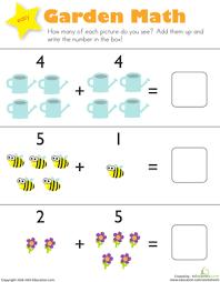 Kindergarten Math Worksheets Addition Garden