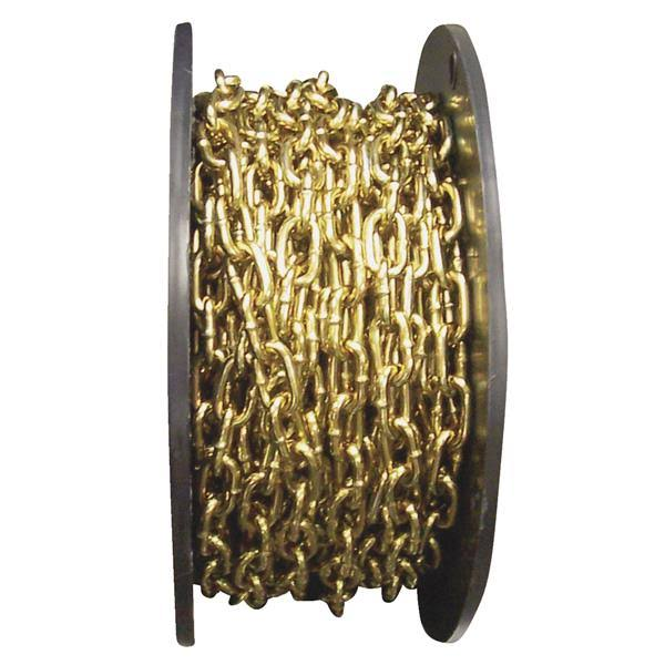 "Campbell Low Carbon Steel Straight Link Machine Chain on Reel - Brass Glo, 0.14"" x 50', 270lb Load Capacity"