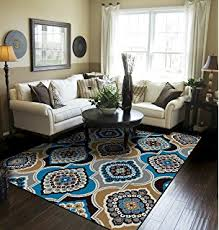 Contemporary Panal And Diamonds Area Rugs For Living Room 8x10 Blue Large Dining