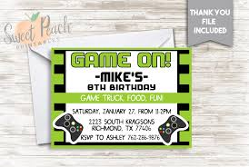 Game Truck Birthday Invite 7x5 Digital Personalized Gamer