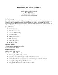 Sales Associate Description Resume