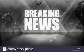 Breaking News Background In Black And White Rectangles World Map Overlapping With Reflective Floor