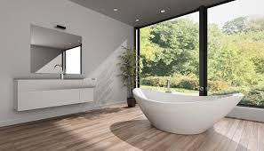 modernes badezimmer mit freistehender wanne vor