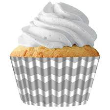 Amazon Silver Chevron Standard Cupcake Baking Cup Liners 32