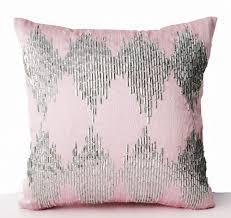 Pink Decorative Throw Pillow Cover Metallic Silver Sequin