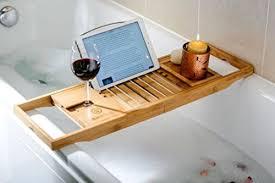 bamboo bathtub caddy luxury storage rack shelf relax book holder