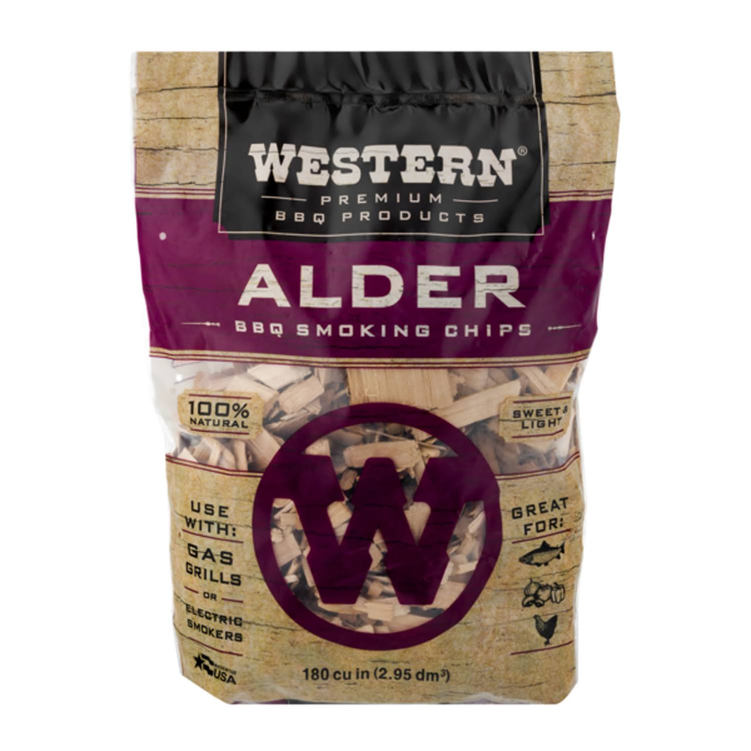 Western 28068 Alder BBQ Smoking Chips - 1lbs
