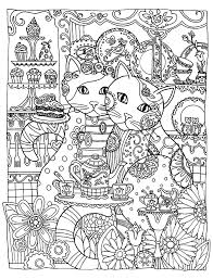 Free Coloring Page Adult Two Cute Cats Loving