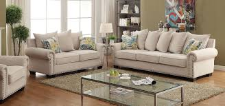 Transitional Living Room Furniture Sets by Skyler Transitional Style Ivory Nailhead Trim U0026 Rolled Arms Sofa