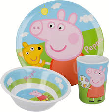 peppa pig melamine plate bowl and cup set by stor