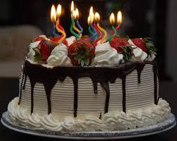 Big Chocolate Birthday Cake With Candles