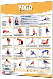 Productive Fitness Laminated Exercise Chart For Yoga Asanas