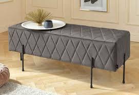 leonique sitzbank cavalino mit velvetbezug und mit schwarzen metallbeinen auch als garderobenbank oder bettbank geeignet