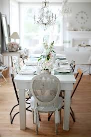 Crystal Chandelier With Rustic Chic White Dining Room The