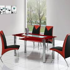 Awesome Red Dining Table Design e With Glass Top And Also Four