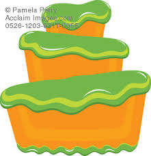 Clip Art Illustration of a Bakery Cake With Fluffy Green Frosting