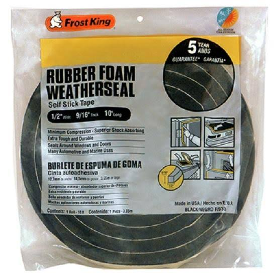 Thermwell Rubber Foam Weatherseal Tape - Black