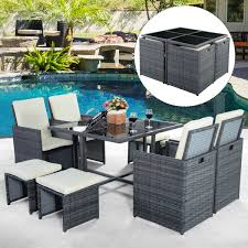 9PC Rattan Garden Home Furniture Dining Table Chairs Set ... Supagarden Csc100 Swivel Rattan Outdoor Chair China Pe Fniture Tea Table Set 34piece Garden Chairs Modway Aura Patio Armchair Eei2918 Homeflair Penny Brown 2 Seater Sofa Table Set 449 Us 8990 Modern White 6 Piece Suite Beach Wicker Hfc001in Malibu Classic Ding And 4 Stacking Bistro Grey Noble House Jaxson Stackable With Silver Cushion 4pack 3piece Cushions Nimmons 8 Seater In Mixed