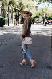 Spring Time Street Style Outfit Retro Rayban Shades Ripped Blue Jeans Khaki Bell Sleeved Shirt