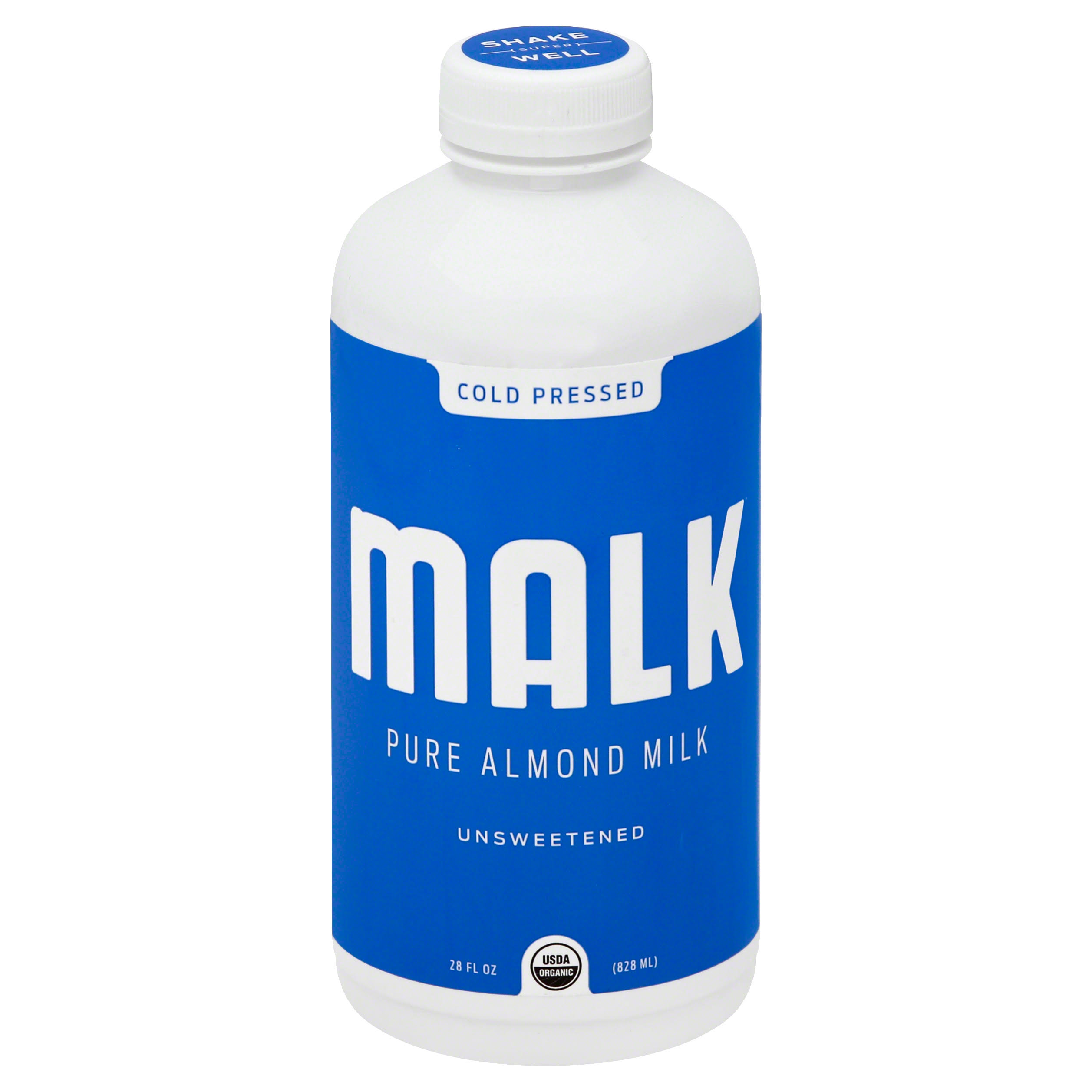 Malk Milk, Pure Almond, Unsweetened - 28 fl oz