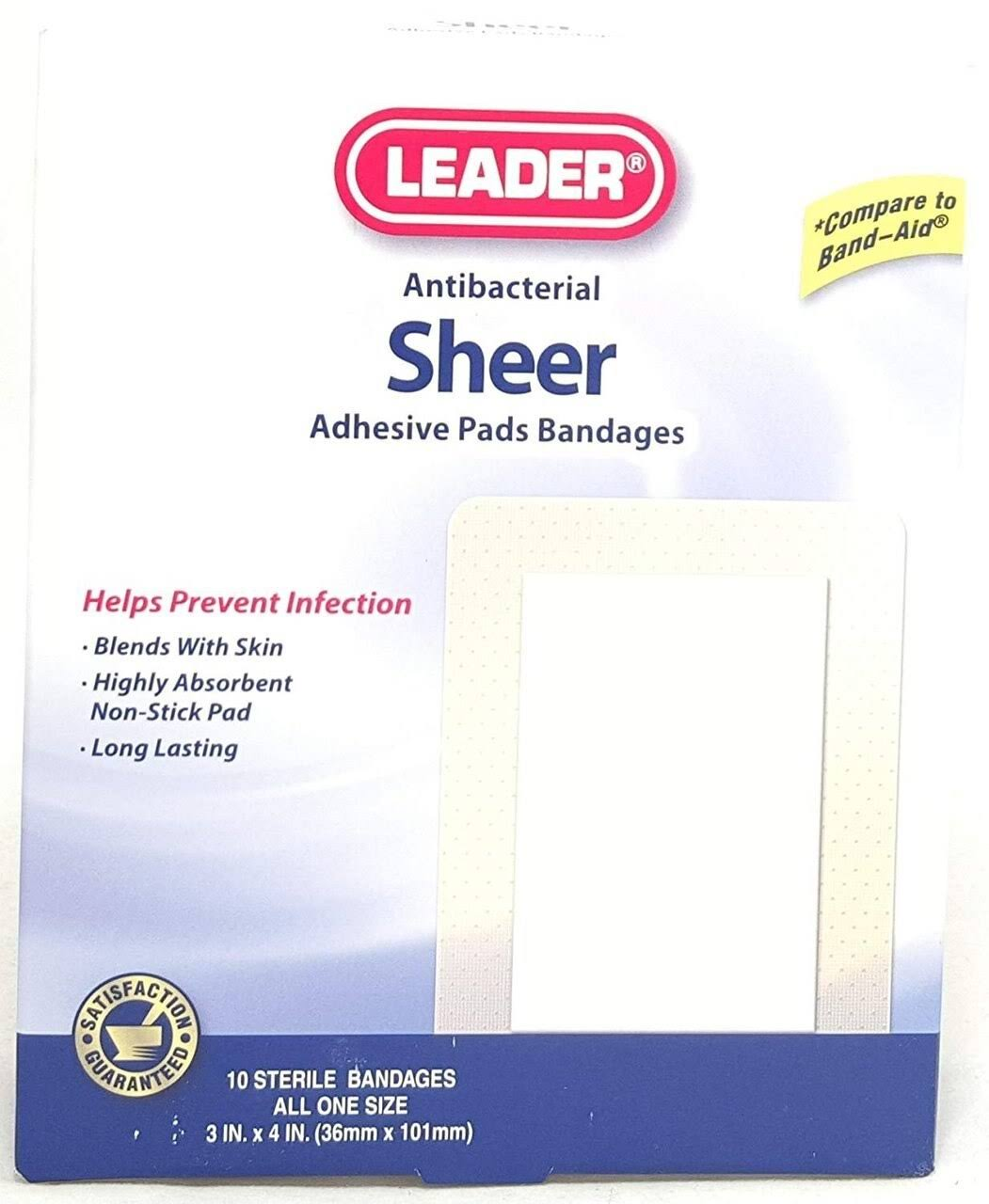 "Leader Sheer Adhesive Bandage Pads - 3"" x 4"", 10 Count"