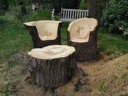 Tree Trunk Garden Table And Chair Set AI Art DIY Rustic Log Decorating Ideas 18
