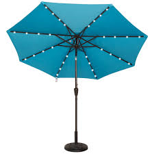 9 Ft Patio Umbrella With Crank by Powered 32 Led Lighted Outdoor Patio Umbrella With Crank And Tilt