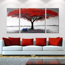 Abstract Canvas Paintings Painting Trees 3 Hand Painted The First Snowflakes Piece Gallery Wrapped Art Home