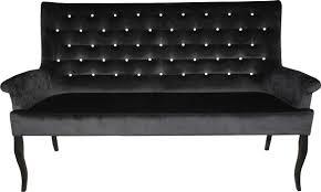 casa padrino chesterfield sitzbank sofa mit bling bling glitzersteinen schwarz b 180 cm h 100 cm t 67 cm esszimmer bank limited edition