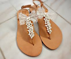 wedding sandals pearls sandals with lace bow bridal sandals