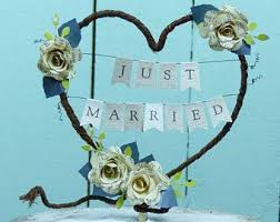 Wedding Cake Decoration Just Married Book Rose Rustic Heart Topper Bunting