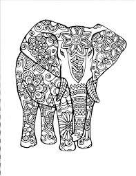 Elephant Abstract Doodle Zentangle Coloring Pages Colouring Adult Detailed Advanced Printable Kleuren Voor Volwassenen Coloriage Pour
