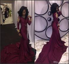 2017 south african burgundy long sleeve mermaid prom dresses with
