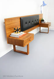 mid century teak bedside tables drawers bedhead retro vintage