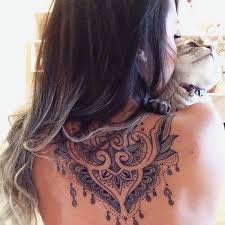 Stunning Back Of The Neck Tattoo Design For Girl