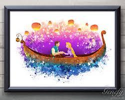 Disney Garden Decor Uk by Disney Rapunzel Tangled Lantern Scene Watercolor Poster Print