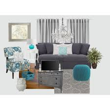 Gray And Teal Living Room Just Replace The Grey Sofa With A Red One