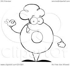 Royaltyfree Rf Clipart Of A Coloring Page Outline Donut Character Wearing Chef Hat And Gesturing Ok By Hit Toon