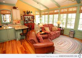 Country Themed Living Room Ideas Magnificent With The Orangey Curtains And Reddish Sofas