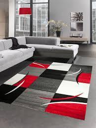 designer teppich wohnzimmerteppich karo rot grau creme