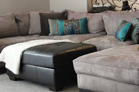 Brown Living Room Ideas by Microfiber Tan Sectional Living Room With Brown Leather Ottoman