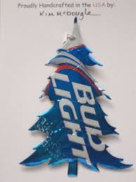 Christmas Tree Handmade Ornament Recycled Aluminum Bud Light Beer Can