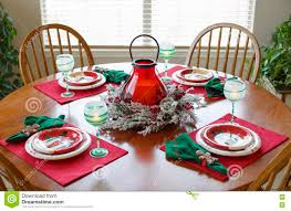 Download Christmas Table Holiday Dining Dinner Setting Arrangement Stock Photo