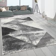 teppich wohnzimmer kurzflor vintage pastell abstraktes muster modern grau creme