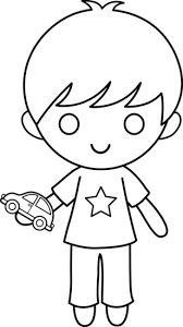 Boy With Toy Car Coloring Page Free Clip Art