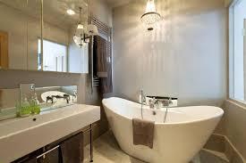 Chandelier Over Bathroom Vanity by Bathroom Modern Bathroom Vanity Brown Color With Large Mirror