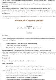 Resume Examples For Hostess Restaurant Host Sample Server