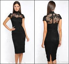 vintage high neck black cocktail dresses knee length short sleeves