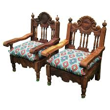 Hand Carved Mexican Throne Chairs